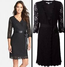 NWT SZ.8 $498 DIANE VON FURSTENBERG Julianna Lace Wrap Dress Black DVF