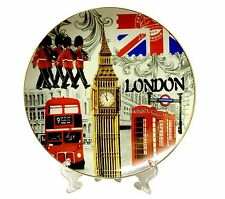 LONDON PLATE - UNION JACK SOUVENIRS DECORATIVE PORCELAIN PLATE + Stand 20 CM
