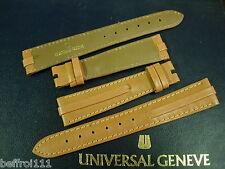 1 bracelet cuir beige UNIVERSAL GENEVE 18 mm montre vintage or strap band