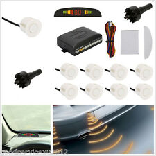 12V 8 White Parking Sensors Autos Front/Rear Reverse Assist Alarming System Kit