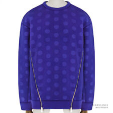 Stella McCartney Cobalt Blue Polka Dot Embossed Scuba-Jersey Sweatshirt IT38 UK6