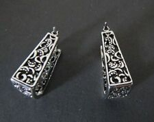 Lia Sophia Jewelry Brocade Antiqued Silver Plated Pierced Earrings RV$32