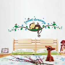 Nursery monkey Kindergarten Sweet dreams Art Wall Stickers Wall Decor Kids Decal