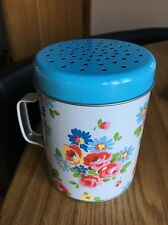 Cath Kidston Tin Flour Shaker / Sifter Floral Flowers Design Blue Lid