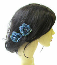 2 x Teal Blue Carnation Flower Hair Pins Bridesmaid Floral Rockabilly 1950s 1560