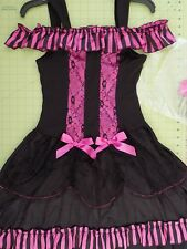 Women's Halloween Can can Dancer Costume Pink Black Size Small 4-6