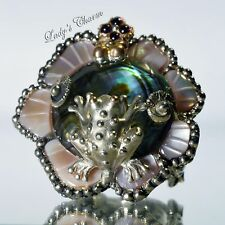 Barbara Bixby Sterling Silver 18K Gold Multi-Gemstone Lily Pad Frog Ring Size 6