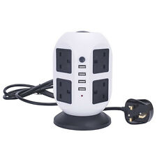 8 Way Tower Mains Power Extension Socket 4 USB Port Adapter Lead Cable Plug 3M