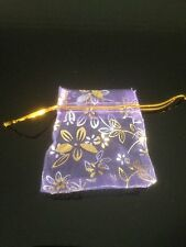 50 8.5x6.5 Lilac with silver & gold flowers Organza Bags/ Wedding Accessories
