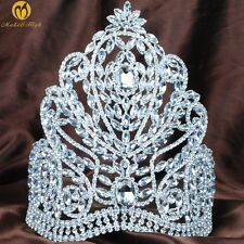 "Fantastic Large 9"" Tiaras Clear Rhinestone Crowns Bridal Pageant Party Costumes"