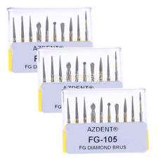 Dental Bur 3X Creamics/Composite Polishing Diamond Burs Kit FG-105 Yellow AZT CA