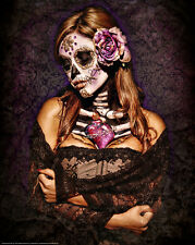 Get Down Art Day Of the Dead Lace Poster Day of the Dead Girl Skeleton