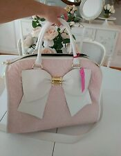 NEW! BETSEY JOHNSON Women's Weekender Extra Large Pink/White Bow Travel Bag
