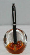 Amber & Clear Glass Paperweight/Pen Stand/Rest - Bubble Inclusions - Dimpled