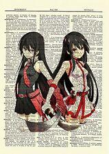Akame Ga Kill Dictionary Art Print Book Page Picture Poster Anime Manga Girl