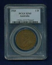 AUSTRALIA GEORGE V  1925  1 PENNY COIN, SCARCE DATE, CERTIFIED PCGS XF-45