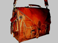 Men's Genuine Leather Vintage Handbag Briefcase Messenger Shoulder Laptop Bag