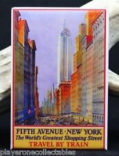 "Fifth Avenue New York Vintage Travel Poster 2"" X 3"" Fridge / Locker Magnet. NYC"