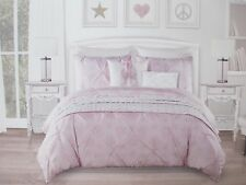 New Nicole Miller Home Kids 6pc Pink Ruched Floral Comforter Set - Full/Queen