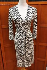 Diane von Furstenberg DVF Vintage Julian Black White Silk Wrap Dress 2 XS S