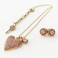 Betsey Johnson 'Iconic Perfectly Pave' Pink Heart Necklace/Earrings Set *HTF*
