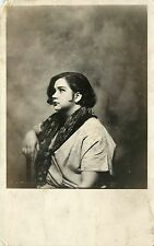 1924-49 Real Photo PC Sultry Working Class Girl w Bobbed Hair, Dark Lipstick