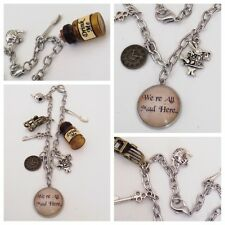 Alice in Wonderland we're all mad here tea party DRINK ME BOTTLE charm Bracelet