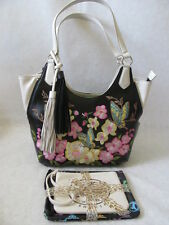 SHARIF BLACK FLOWER & BUTTERFLY LEATHER EMBROIDERED SHOULDER BAG PURSE - NWT