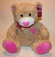 "Adorable 14"" Red & Pink Valentine Stuffed Plush Bear, Pink Heart Nose , Pink Pad"