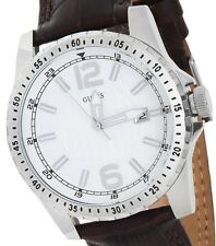 New Modern Black Leather Strap Silver Dial Guess Men Watch W90059G2