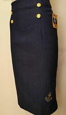 Rockabilly Pinup Vintage Nautical High Waist Denim Pencil Wiggle Skirt SIZE XL