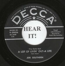 Jeri Southern JAZZ POP VOCAL 45 (Decca 29856) A Lot of Livin' Out-a Life/Kiss