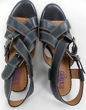 Indigo by Clarks Sandals Double Buckle Straps Chunky Heels Black Size 7M  #163
