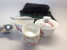 Gong Fu Tea Travel Set Bird Peach Flower 8pcs With A Travel Case