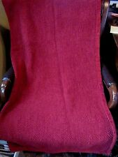Pottery Barn Burgundy Red Chenille Cable Knit Throw Blanket 50 x 60