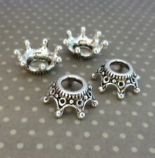 Lot de 25 tibétains style argent antique couronne bead caps