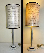 """Vintage PEWTER """"Music"""" Table Lamp MARBLE BASE Johann S. Bach GERMANY 26"""" high"""