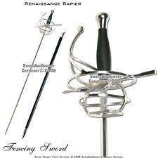Medieval Renaissance Rapier Fencing Sword with Swept Hilt Guard Costume