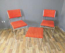 2x Stuhl & Hocker Chrom chrome 60er 60s 70er 70s Design Vintage Küche Diele Set