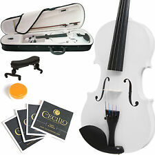 MENDINI FULL SIZE 4/4 SOLIDWOOD VIOLIN METALLIC WHITE +TUNER+SHOULDERREST+CASE