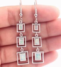 ****UK SELLER**Silver/Rhodium Plated WHITE FIRE OPAL Long Drop Earrings