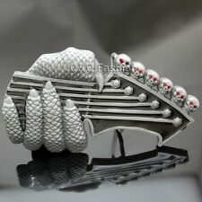 Fab Silver Guitar Monster Claw Skull Rock Music Band Belt Buckle Goth Punk Biker