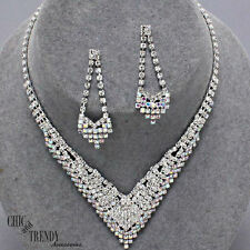 STUNNING AURORA BOREALIS CLEAR CRYSTAL PROM WEDDING FORMAL NECKLACE JEWELRY SET
