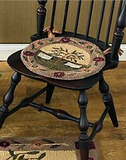 New Country Primitive SHEEP WILLOW TREE Wool Hooked Rug Chair Pad Seat Cushion