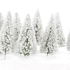 10 Model pine Trees White snow winter forest train railway War game Scenery
