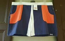 nwt LE TIGRE Colorblock Inverted Front Pleat THROWBACK Vtg Retro Tennis Skirt