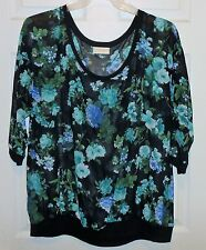 MULTI COLOR BOBBIE BROOKS 3/4 LENGTH SLEEVE TOP SIZE 3X---NEW