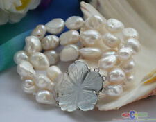 """P4586 3row 8"""" 15mm white baroque freshwater cultured pearl bracelet"""