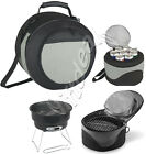 2 IN 1 BBQ GRILL AND COOLER BAG SET PORTABLE CHARCOAL FOOD MEAT CAMPING PICNIC