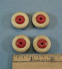 """4 OLD LOOK White Rubber TIRES with WOOD HUBS- 7/8"""" od - HUBLEY,  Cast Iron Toys"""